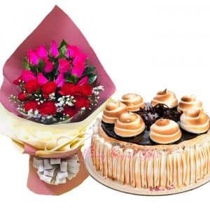 Roses/Carnations Bouquet & Caramia Chocolate S'mores Cake