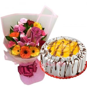 Mixed Flowers Bouquet & C2Go Mango Meringue