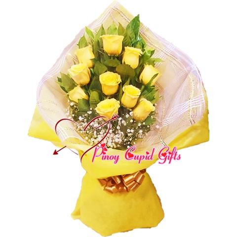 10 Yellow Imported Roses