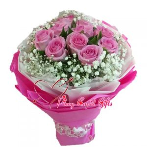 10 Pink Imported Rosesin a bouquet