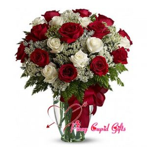 Mixed Imported Roses in a Vase (10 Red/10 White)