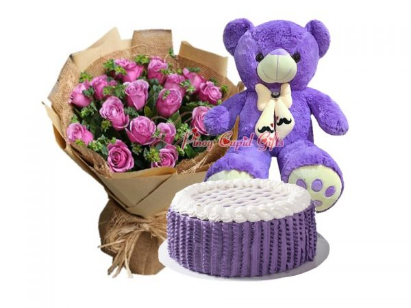 20 Imported Purple Roses, 2FT Purple Bear & Ube Casturd Cake by Conti's