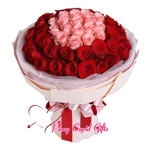20 Imported Pink Roses + 40 Red Roses in a bouquet