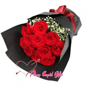 10 Red Imported Rosesin a bouquet