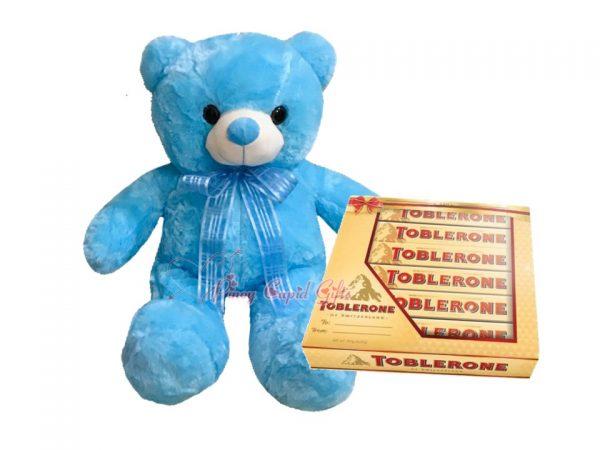 22 Inches Blue Teddy Bear, Toblerone Gift Pack 6 x 50g