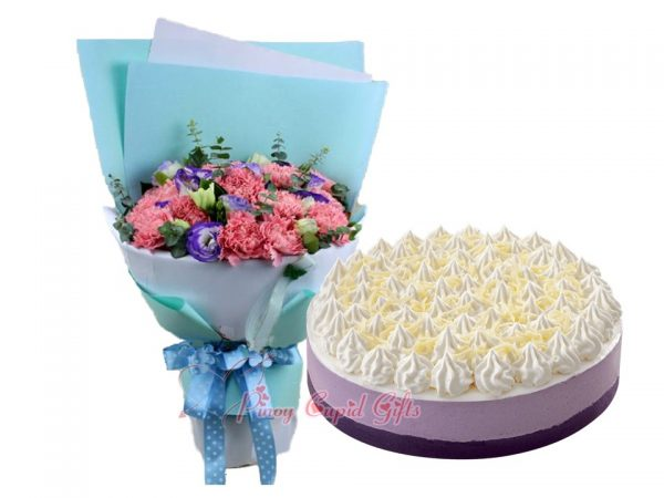 Mixed Carnations Bouquet & Ube Mousse Cake