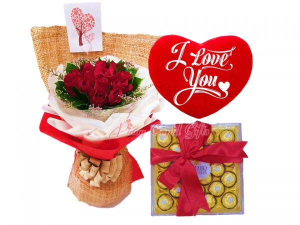 "1 Dozen Red Roses Bouquet, 24 pcs Ferrero Rocher Chocolate, ""I Love You"" Pillow"