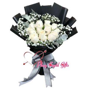 1 Dozen White Roses Bouquet