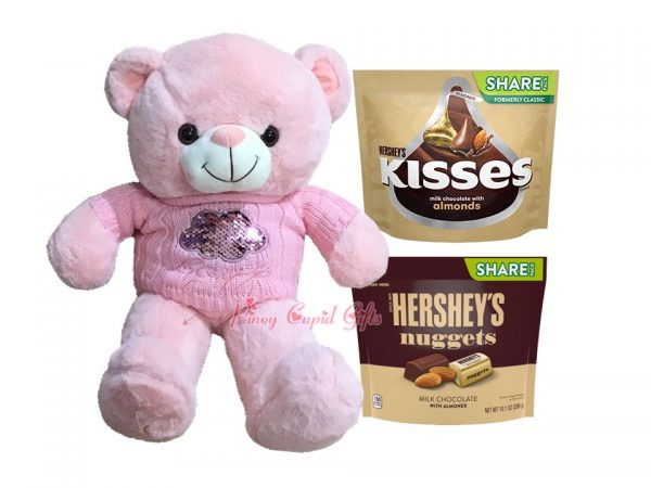 22 Inches Pink Bear, Kisses Almonds Share Pack 283g Hershey's Nuggets Almonds Share Pack 286g