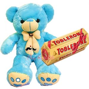 27 Inches Light Blue Teddy Bear, 6 x 100g Toblerone Gift Pack