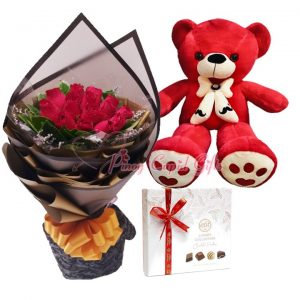 1 Dozen Red Roses Bouquet, 2FT Red Teddy Bear, Elit Luxury Collection Chocolate Pralines 170g