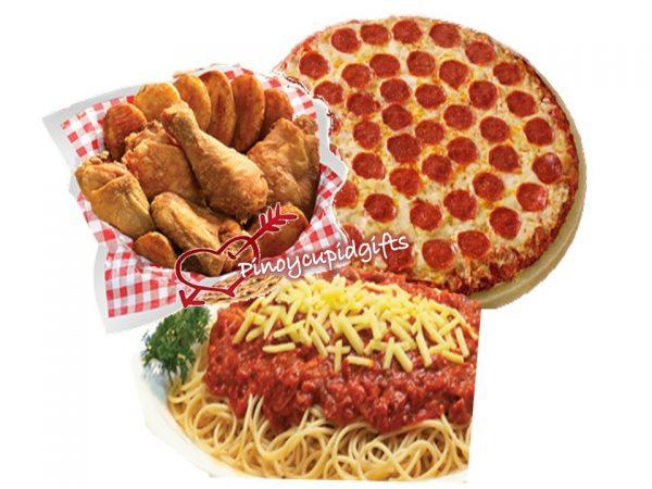 "18"" Super Slam Pizza, Spaghetti Platter, Buddy pack Chicken & Mojos"