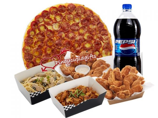 New York Classic Pizza, 1 Pound Chicken Wings, 2 Regular Pastas, 1.5L Pepsi
