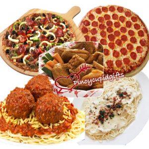 Belly Buster & Pepperoni Pizzas, 12pcs Buffalo Wings, Carbonara Pasta Platter, Skilleti Pasta Platter, Regular 1.5l Coke