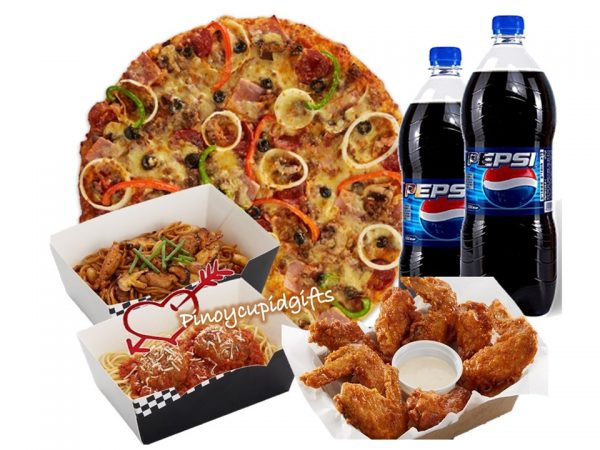 New York's Finest XL Pizza, 2 Large Pastas, 1/2 Pound Chicken Wings, 2x 1.5L Pepsi