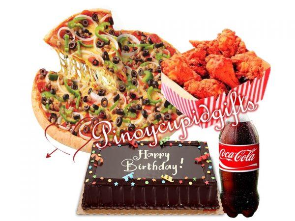 "S&R 18"" Combo Pizza, S&R 6pc Fried Chicken, Chocolate Dedication Cake, 1.5l Coke"