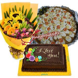 Sunflower/Gerberas Bouquet, Med Pancit Malabon, Goldilocks 8x12 Dedication cake