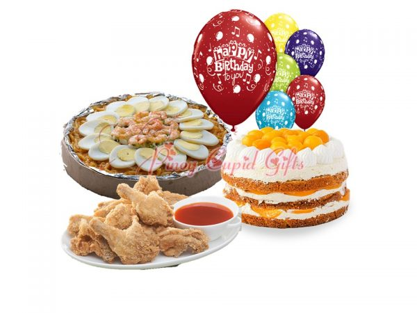Medium Pancit Malabon with fried chicken andMango Peach Tiramisu Cake by Cake2Go