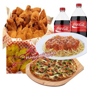 Shakey's: Party Size Pizza, Spaghetti Platter, 7pcs Chicken and Mojos, Garlic Loaf, 2 x 1.5l coke