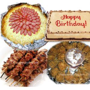 Amber Spaghetti Bilao, Chicken Lollipops, Pork BBQ, Mocha Dedication Cake