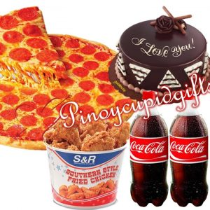 """S&R 18"""" Gourmet Pizza, S&R Fried Chicken, GD-All About Chocolate Cake, 2 x 1.5 Coke"""