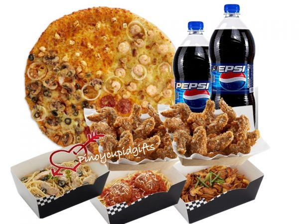 Yellow Cab XL Four Seasons Pizza, 3 Large Pastas, 1 Pound Chicken Wings, 2x 1.5l Drinks.