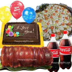 Lechon Belly, Pancit Malabon, GD Choco Dedication Cake, 2 x 1.5L Coke, 3 Free Balloons