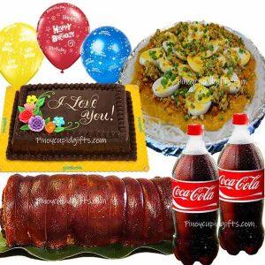 Lechon Belly, Pancit Palabok, GD Choco Dedication Cake, 2 x 1.5L Coke, 3 Free Balloons