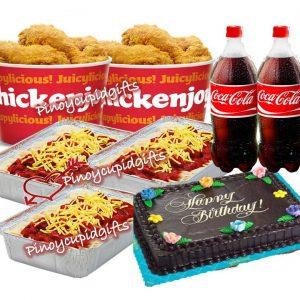 2 x 8pcs Jollibee Chickenjoy, 3 Family Pans-Jollibee Spaghetti, Goldilocks Choco Cake, 2 x 1.5l Coke
