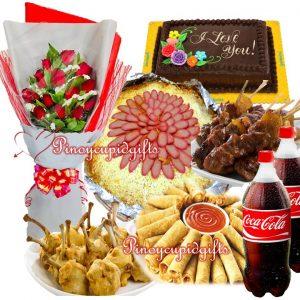 Amber-Spaghetti, Pork BBQ, Lumpia Shanghai, Chicken Lollipos, Dedication Cake, 2 x 1.5 Coke, 1 Dozen Roses