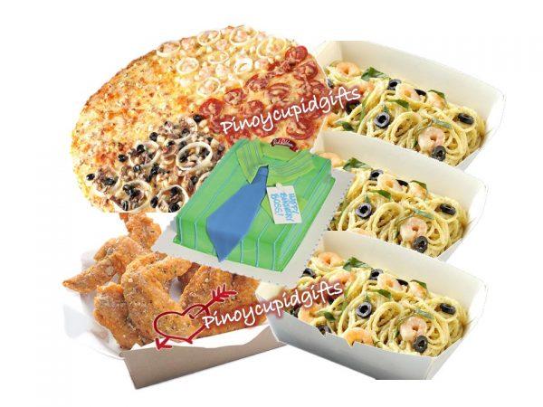 Yellow Cab- XL Four Seasons Pizza, 3 Boxes Chicken Alfredo Pasta, 1 Pound Chicken Wings, Goldilocks Dedication Cake
