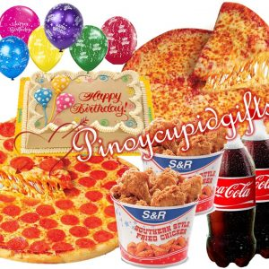"S&R 18"" Gourmet Pizza, S&R 18"" Classic Pizza, S&R Fried Chicken, Goldilocks Dedication Cake, 2 x 1.5 Coke 6 Assorted Balloons"