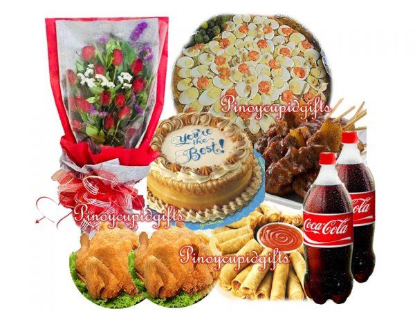 Amber-Pancit Malabon, Pork BBQ, Lumpia Shanghai, Buttered Fried Chicken, Luscious Caramel Cake, 2 x 1.5 Coke, 1 Dozen Roses