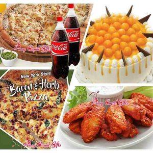 S&R Pesto Matcha Pizza, Bacon & Herbs Pizza, 20 Chicken Wings, Goldilocks Mango Delight Cake 2×1.5L Coke