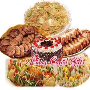 Lido Pancit Canton Guisado, Lido Yang Chow Fried Rice, Lido Pugon Roasted Asado, Lido Drunken Lechon, Lido Stir-Fried Seasonal Vegetables, GoldilocksBlack Forest