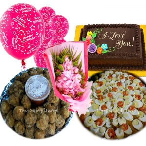 Amber Pancit Malabon Chicken Lollipops Goldilocks 8×12 Cake 2 Dozen Pink Roses, 6 Pink Birthday Balloons