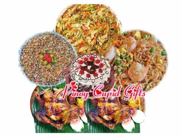Baliwag Pancit Bihon, Baliwag Shangai Fried Rice, Baliwag Pork Sisig, Baliwag Lechon Manok, Goldilocks Black Forest Cake