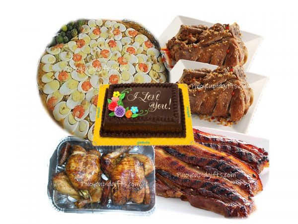 Pancit Malabon-Large, 2 Regular Crispy Pata, 3pcs BBQ Liempo, 2pcs Lechon Manok, Goldilocks Dedication Cake