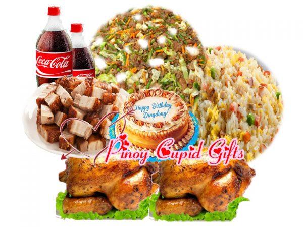 Lido Pancit Canton Guisado, Yang chow Fried Rice, 2Lechon ManokChicken, 3 Slabs Liempo Pork, Goldilocks Luscious Caramel 2 x 1.5L Coke