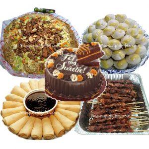 Amber Pancit Miki Bihon-Large, Fresh Lumpia-20pcs, Pork BBQ-20 sticks, Puto Cheese-24pcs, Golidolocks Chocolate Caramel Decadence