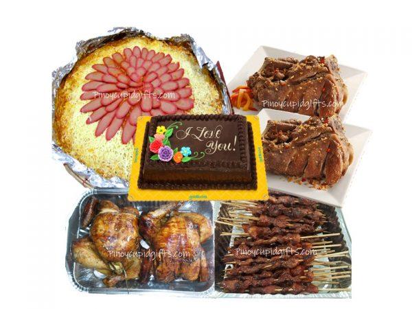 Amber Spaghetti with Meat Sauce, Regular Crispy Pata-Chopped x2, Pork BBQ-20pcs, Lechon Manok x 2pcs, Goldilocks 8x12 Choco Chiffon Cake