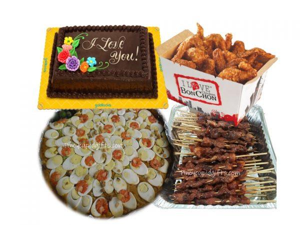 Amber Pancit Malabon Bilao, 20pcs Pork Barbecue Bonchon Chicken Wings (8pcs Box x3) Goldilocks 8x12 Choco Dedication Cake