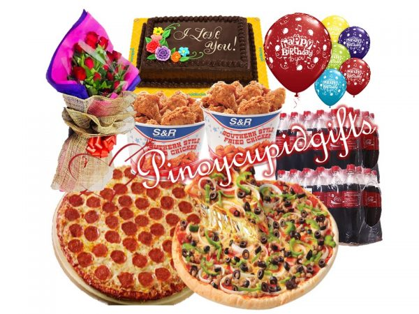 """1 Dozen Red Roses, S&R 18"""" Pepperoni Whole Pizza, S&R 18"""" Combo Whole Pizza, 2 Buckets Fried Chicken-10pcs RR-Choco Dedication Cake 24pcs Coke 6pcs Assorted Balloons"""