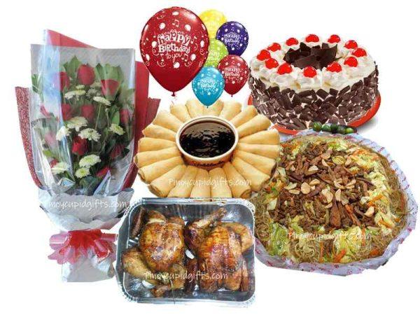 1 Dozen Red Roses Bouquet, Amber Pancit Canton Bihon Guisado 20pcs Fresh Lumpia, 2pcs Lechon Manok, Red Ribbon Black Forest Cake 7 Assorted Birthday Balloons.