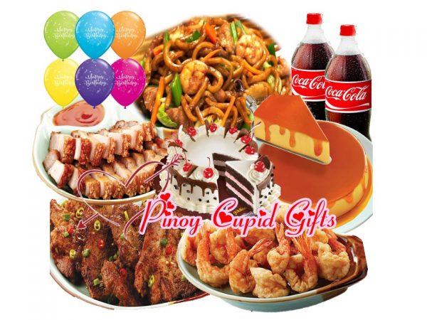 Lido Chami Special, Camaron Rebosado, Spiced Shantung Pork, Drunken Lechon Macau, Goldilocks Cherry Torte Cake Don Benito Leche Flan, 6 Assorted Birthday Balloons, 2 x 1.5l coke