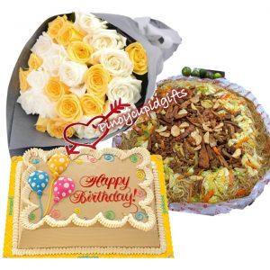 20 Mixed Imported Roses, Pancit Miki Bihon, Goldilocks 8x12 Mocha Cake