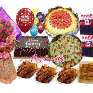 "1 Dozen Roses, Pancit Malabon, Spaghetti with Meat Sauce, 30pcs Pork BBQ, 30 Lumpiang Shanghai, Red Ribbon Dedication Cake, 6 ""Happy Birthday"" Balloons, 24×300ml coke"