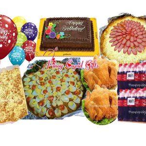 Pancit Malabon, Spaghetti, 2 Buttered Fried Chicken, 40pcs Pichi-Pichi with cheese, Goldilocks Dedication Cake, 24x300ml coke, and 6 Balloons