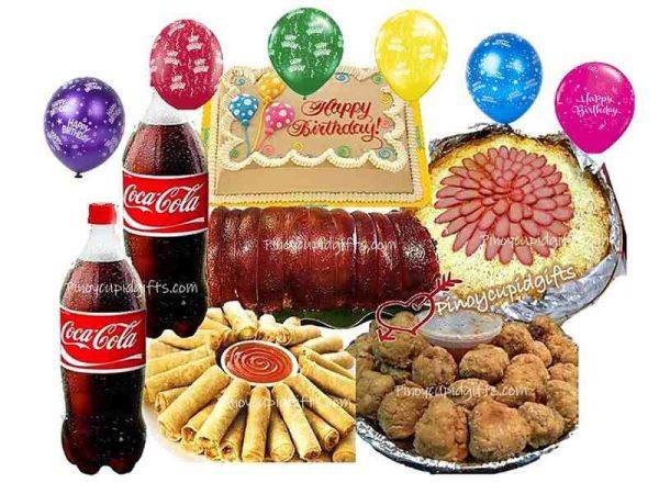 Boneless Lechon Belly-Barkada, Spaghetti with Meat-Sauce, 30 Lollipops, 30 pcs Lumpiang Shanghai, 2 x 1.5l Coke, Goldilocks Dedication Cake, 6 Assorted Birthday Balloons