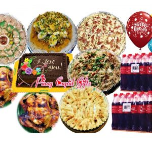 "Susie's Pancit Palabok-Big, Susie's Bihon Canton, Fetuccine, 100pcsMochi, 2 pcs Lechon Manok, 24 pcs Siomai, Goldilock Dedication Cake, 24x300ml Coke, 6 Assorted ""Happy Birthday"" Balloons"